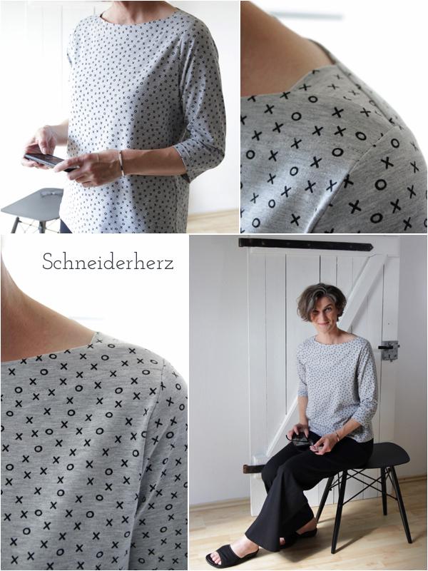 Shirt in grau mit grafischen Muster