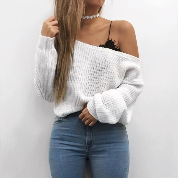 Best White off Shoulder Sweater #Summer #Outfits