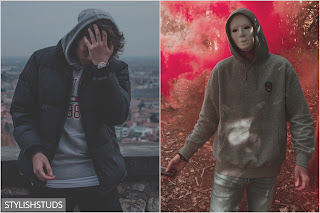 Two guys wearing hooded sweaters in two different ways.