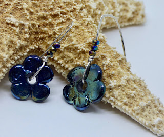Iridescent Navy Blue Floral Earrings by BayMoonDesign