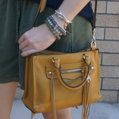 olive embroidered shorts with Rebecca Minkoff micro Regan satchel in Harvest Gold | awayfromtheblue