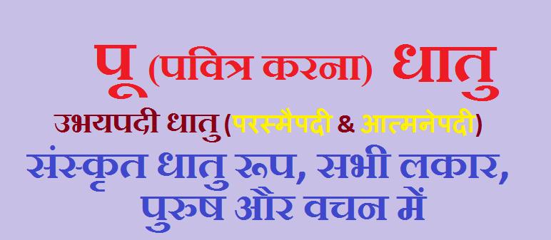 Pu Ke Dhatu Roop Pavitra Karana - संस्कृत, all lakar