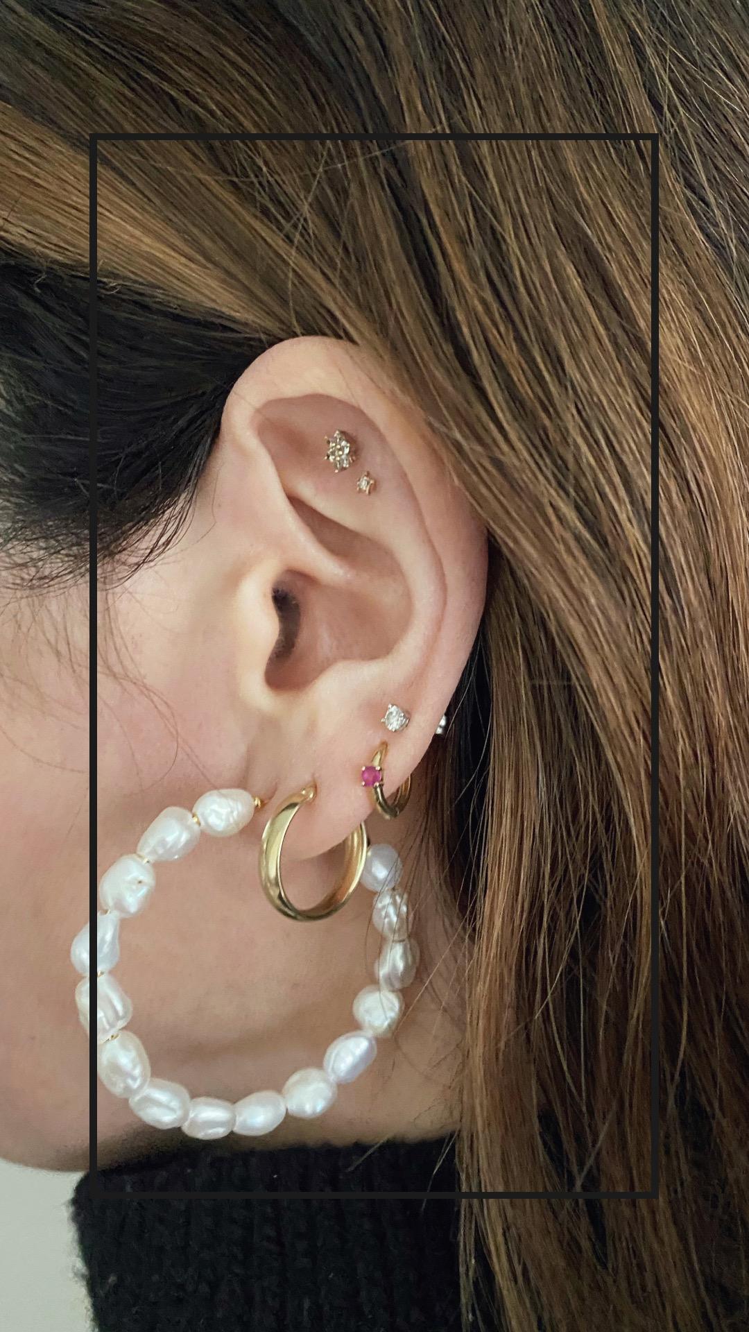 Mejuri Bold Pearl Hoop Earrings