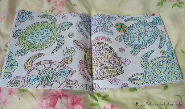 tartarugas, giz-de-cera, livro-de-colorir, floresta-magica