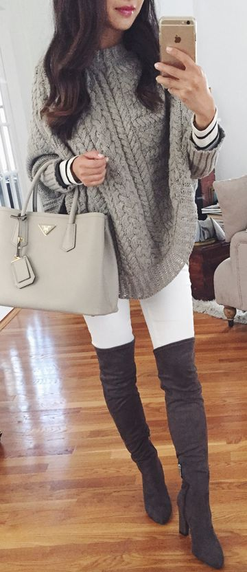 cool fall outfit idea : bag + stripped top + knit grey poncho + white skinnies + over the knee boots