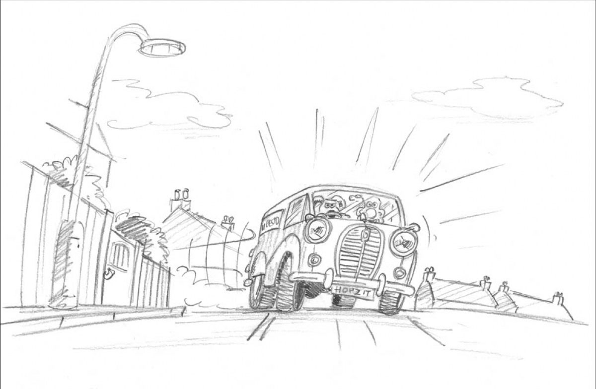 moving animation backgrounds: Wallace & Gromit in The