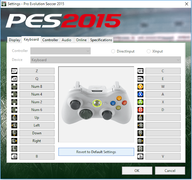 How to set Pro Evolution Soccer gaming controls like FIFA keyborad controls?