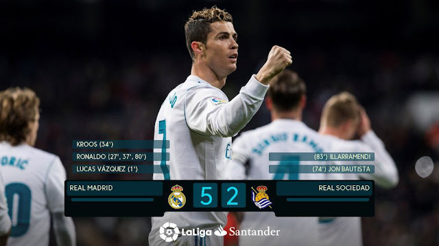 Hasil Pertandingan Real Madrid vs Real Sociedad: Skor 5-2