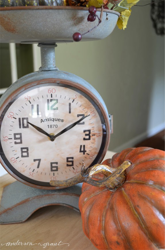 Fall Vignette in a kitchen scale   www.andersonandgrant.com