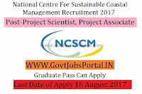 National Centre for Sustainable Coastal Management Recruitment 2017– 15 Project Scientist, Project Associate