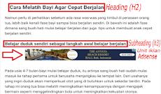 Cara Memasang Iklan Adsense Setelah Subheading di Dalam Postingan