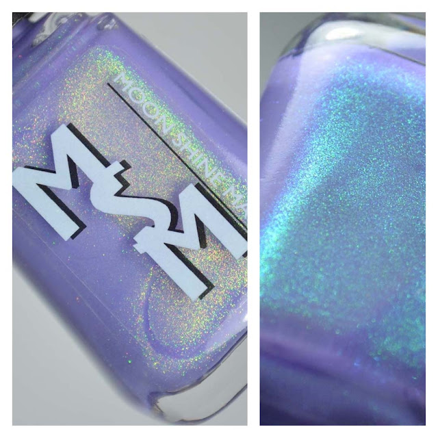lilac purple nail polish with shimmer in a bottle