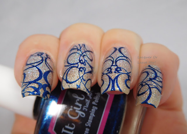 It Girl Nail Art Sapphire stamping polish + IG103 over Zoya Alicia