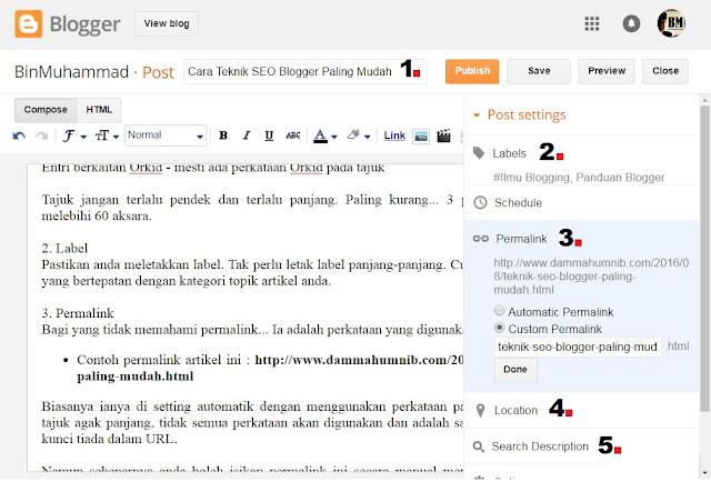 Cara Teknik SEO Blogger Paling Mudah