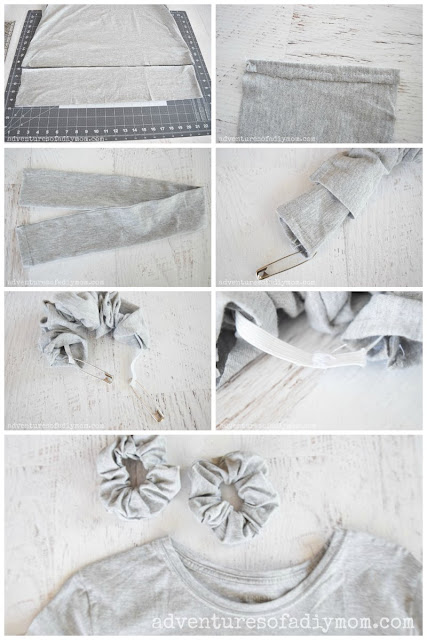 step-by-step collage of pictures depicting how to make scrunchies from an old shirt.