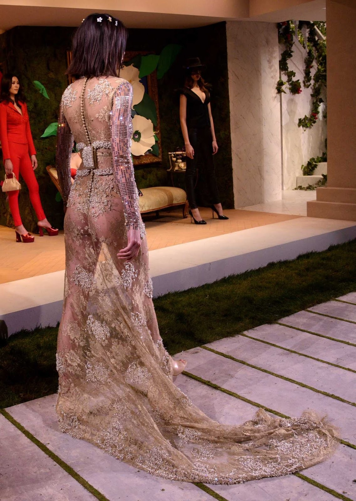 Kendall looked absolutely breathtaking in a completely sheer number which revealed her backside