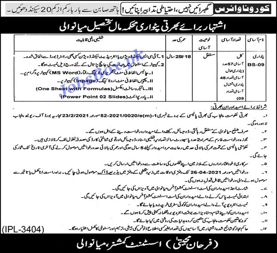 mianwali-patwari-jobs-2021-advertisement