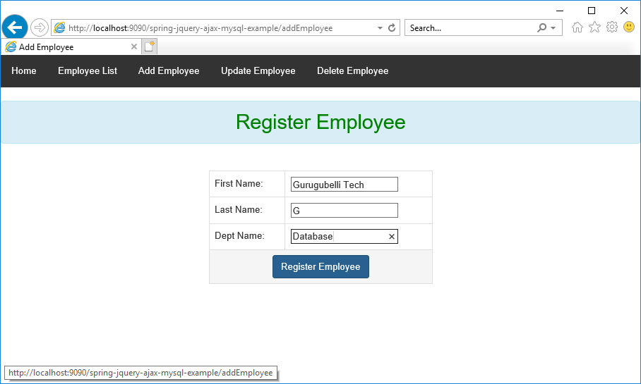 CRUD operations in Employee management using Spring, jQuery, Ajax