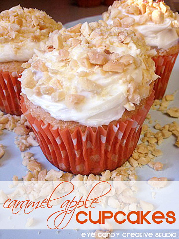 how to make caramel apple cupcakes, nuts, icing, cupcake toppings