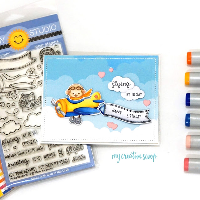 Sunny Studio Stamps: Plane Awesome Critter in Airplane Card with Copic No Line Coloring Video Tutorial by Mindy Baxter