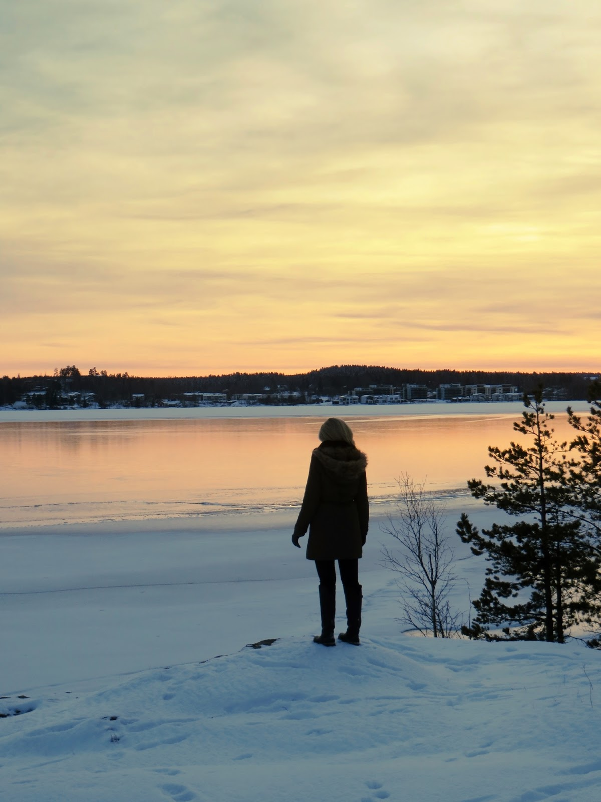 Tampere, talvi, Rosendahl, auringonlasku