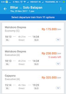 Pilihan kereta api Blitar - Solo