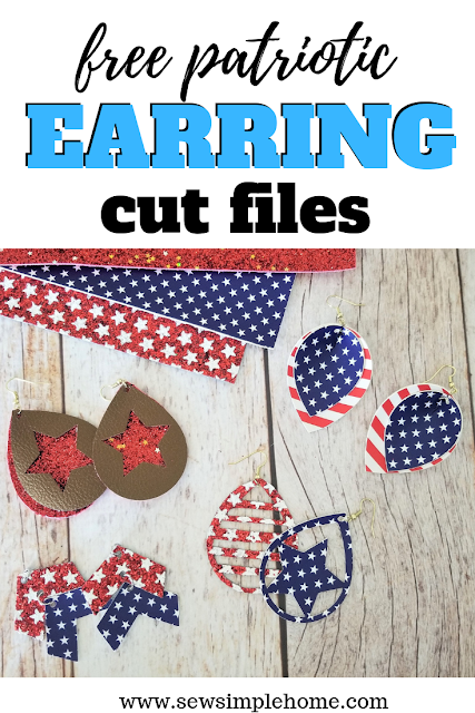 Grab these free faux leather earring svg and png cut files and create your own 4th of July leather earrings.