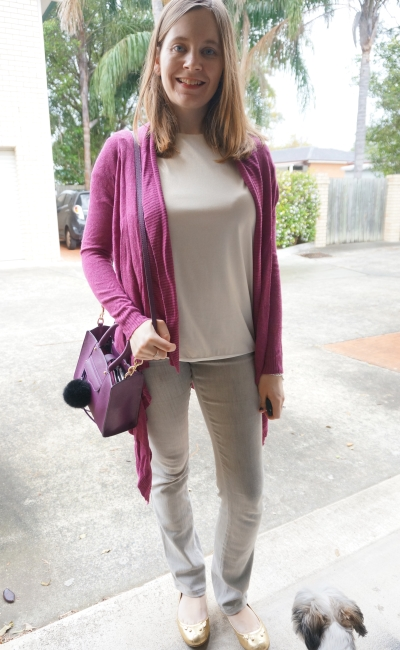 purple cardigan and bag with neutral metallic tee and grey jeans outfit rainy day style | AwayFromBlue