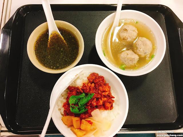 紅糟滷肉飯、茭白筍丸湯