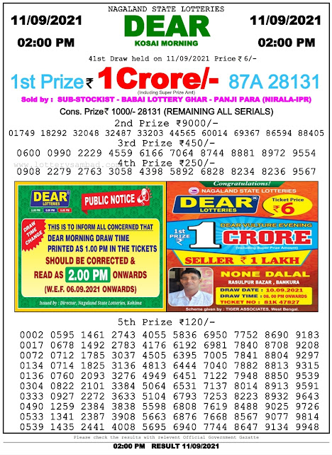 Nagaland State Lottery Result 11.9.2021 Today - 2pm