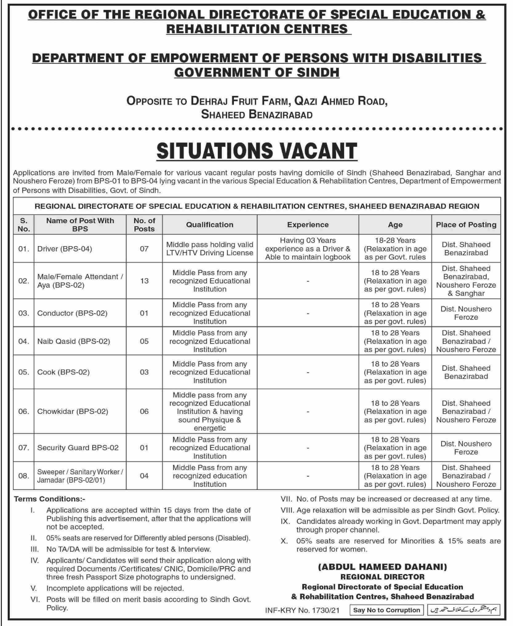Special Education & Rehabilitation Department Sindh Jobs 2021 in Pakistan