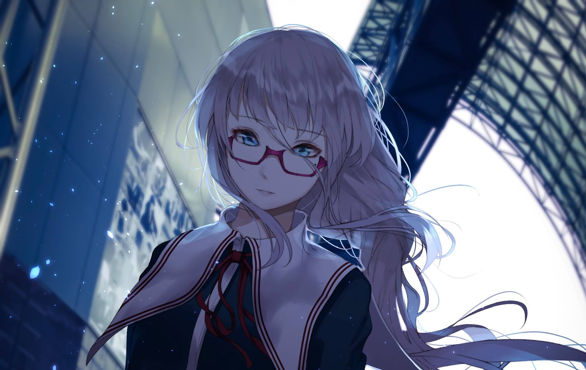 anime girl with white hair and blue eyes
