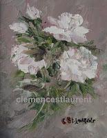 Septième ciel, huile 5 x 4 par Clémence St-Laurent - gerbe de roses blanches