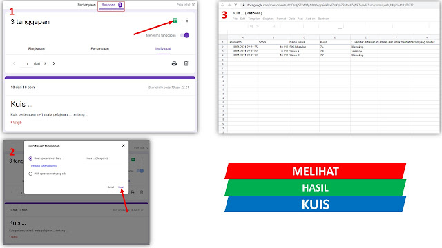 cara membuka/melihat hasil kuis (skor) dalam bentuk tabel pada spreadsheet