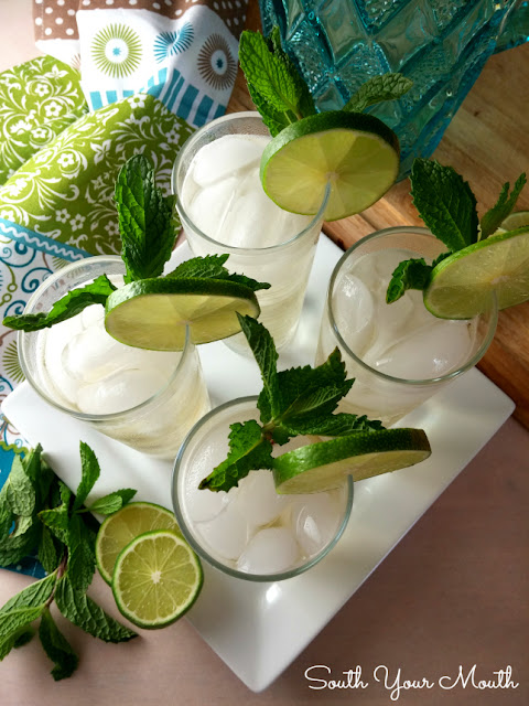 Mandy's Mojitos! Whip up a pitcher with easy mint simple syrup (seriously, it's crazy easy), fresh lime juice, rum or tequila and lemon-lime or club soda.