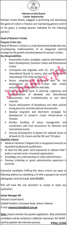 Pakistan Cricket Board PCB Jobs 2021 - www.pcb.com.pk