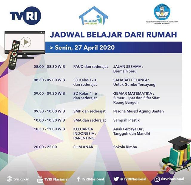 Jadwal Belajar TVRI Hari Ini Senin 27 April 2020-IGtvrinasional