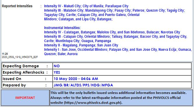 Magnitude 5.4 earthquake hits Occidental Mindoro