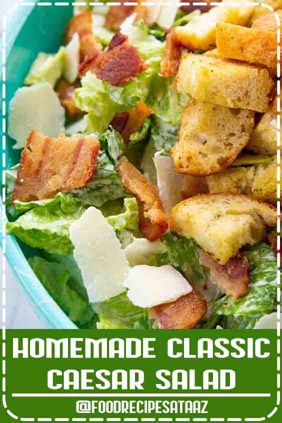 4.7 ★★★★★ | This Homemade Classic Caesar Salad has a homemade creamy Caesar dressing that uses anchovy paste, mayo, Parmesan, lemon and plenty of garlic! #Anchovies #Recipes #Appetizers #CeasarSalad