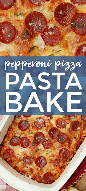 Pepperoni Pizza Pasta Bake | The Two Bite Club | #casserole #pizza #pasta