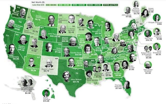 Cartografía de la persona más rica de todos los estados de EE. UU. En 2020