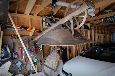 garage storage wheelbarrow kayak hoist ceiling organization