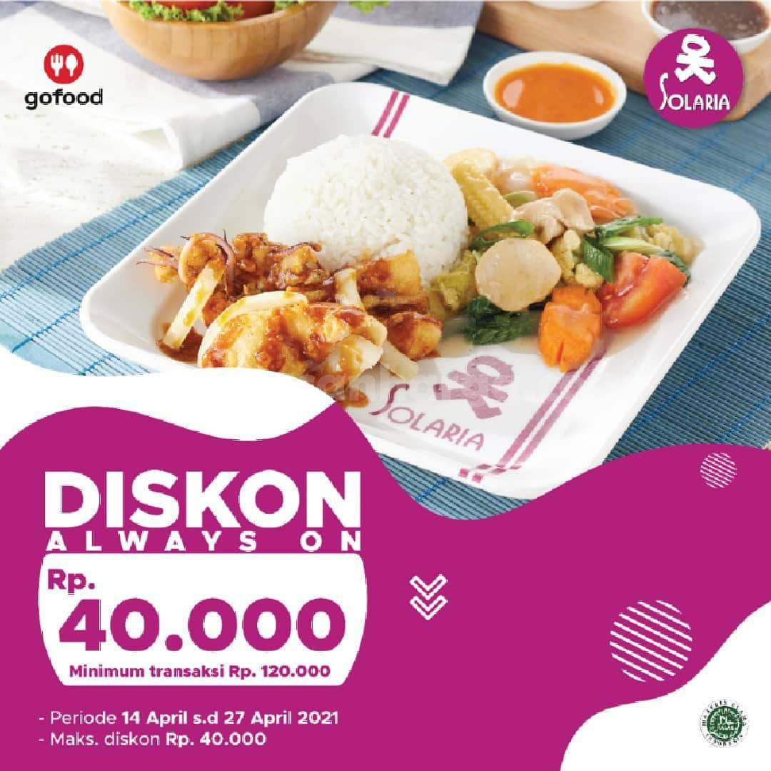 SOLARIA Promo DISKON Rp. 40.000 khusus pemesanan via aplikasi GOFOOD