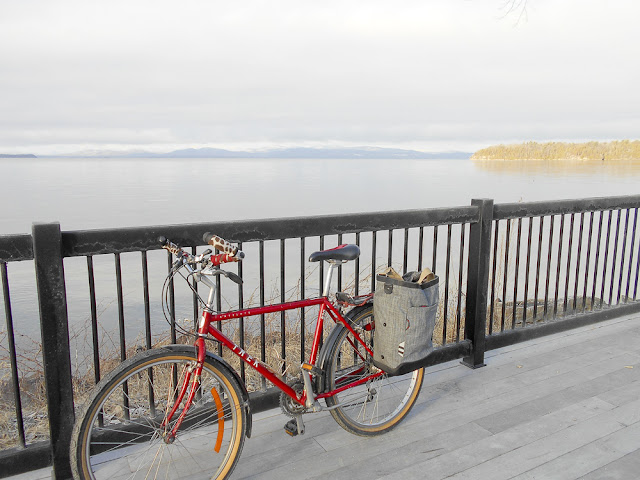 Early morning pedaling along Lake Champlain