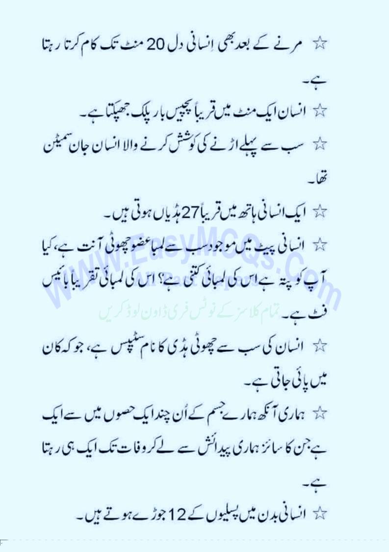 اردو معلوماتی سوال جواب ٹیسٹ و انٹرویو کی تیاری کےلیے