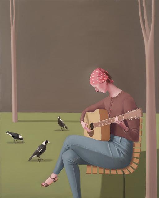 Prudence Flint, pinturas, imagenes de soledad femenina bonitas, chidas de arte inspirador, mujer, musica, guitarra,