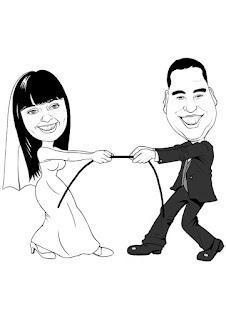 caricatura de noivos cabo de força