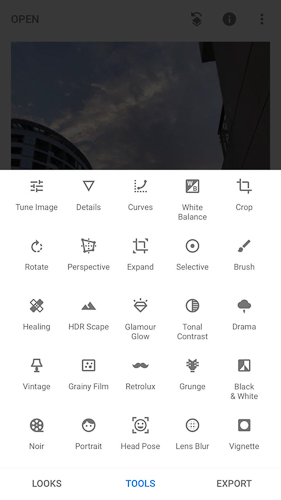 This Screenshot from Snapseed app shows all options you see when you Tap on TOOLS option in Snapseed and many of the options you see would match with any other Photo Editing app for Smartphones, Desktop or web with few exceptions. The tool-set that you get in Snapseed are:  1. Tune Image