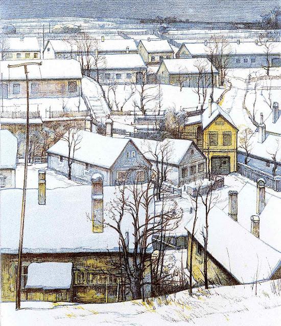 Josef Stoitzner art, a neighborhood in winter