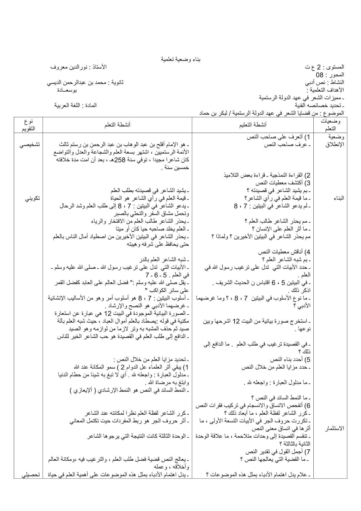 تحضير نص من قضايا الشعر في عهد الدولة الرستمية 2 ثانوي علمي